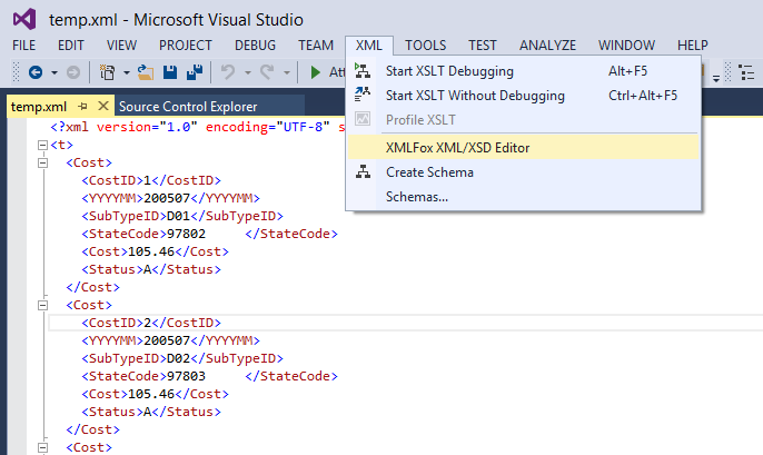 Validating xml with xsd editor